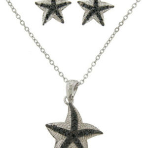 NWT jewelry set cz star fish pendant and earrings